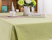GL&G Cotton cafe Gitter Tischtuch Japanische und koreanische Retro Tischdecke Universal Deckel Handtuch, Esstisch Küche Esstisch Dekoration,Green,140*220CM