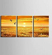 GL&G Creative Art Schlafzimmer Wohnzimmer Restaurant Fashion Portfolio Inkjet Prints Sunset Landschaft Wanduhr Frameless Malerei,3pcs,50*70cm