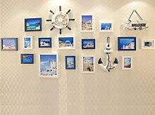 GL&G Der mediterrane Stil Zuhause Dekoration Fotowand, Solid Wood Frame Meer Dekoration Wand Kombination Rahmen Wohnzimmerwand,A