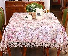 GL&G Die Neue Chinesische Stil Tischdecke Spitze Stickerei Spitze Tischdecke Couchtisch Tuch Tischdecke Haus Dekoration Multi-Zweck Abdeckung Handtuch Abdeckung Tuch,150*220cm