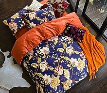 GL&G Die neue Druck reine Baumwolle frische Köper reaktive Druck-und Färben kühlen atmungsaktiven Anti-Falten-Bett vier Sätze (Quilt Cover × 1PC, Bed Sheet × 1PC, Kissenbezug × 2PCS),a6,1.8m(6ft) bed