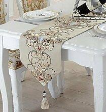 GL&G Die neuen modernen europäischen Stil Tischläufer chinesischen Stil Tabelle Matten Home Dekoration Mehrzweck decken Tuch Schlafzimmer Bett Läufer Bett Handtuch,B,33*210cm