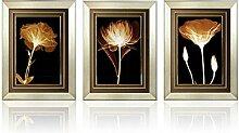 GL&G Einfache Blumenlandschaft Muster, Haus Hintergrund Wand Rahmen Malerei Plane Malerei Wandmalerei Dekoration, praktische Wohnzimmer Restaurant Schlafzimmer Korridor Dekoration Wandbilder,3pcs,70*90cm