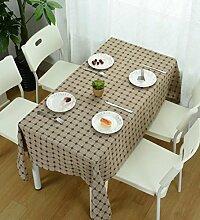 GL&G Einfache Gitter Home Dekoration Tisch Tuch japanisches Leinen Tischdecke Mehrzweck decken Tuch Staub optionale Multi-color,C,130*190cm