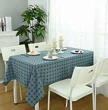 GL&G Einfache Gitter Home Dekoration Tisch Tuch japanisches Leinen Tischdecke Mehrzweck decken Tuch Staub optionale Multi-color,A,90*150cm