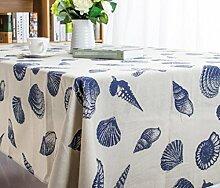 GL&G Einfache Shell Conch Baumwolle und Baumwolle Tischdecke Mittelmeer Print Tischdecke Hotel Esstisch Stoff Mehrzweckabdeckung,A,140*180CM