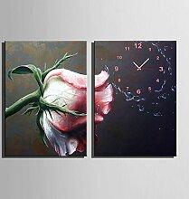 GL&G Europäische klassische Moderne Rosa Rose dekorative Inkjet Malerei Kreative Kunst Schlafzimmer Wohnzimmer Restaurant Cafe Wanduhr Frameless Malerei,2PCS,50*70CM