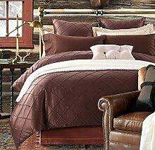 GL&G Europäische Luxus-hochwertige gewaschene Seide vier Sätze bequeme ultra-weiche Seide Bett Bettwäsche Quilt Abdeckung × 1PC, Bett-Blatt × 1PC, Kissenbezug × 2PCS),C,2 meters bed