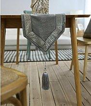 GL&G Europäische Luxus Tischfahne Tischdecke Tischläufer Pflanze floralen einfachen modernen grau Spitze,gray,30*220cm