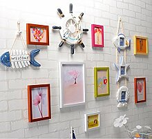 GL&G Europäischen Stil der mediterranen Zierrahmen Kombination, Creative Foto Rahmen Wand hängenden Living Room Foto Wand Home Dekoration,E