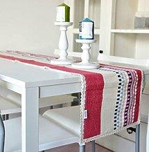 GL&G Europäischen Stil einfach Baumwolle Tischläufer Isolierung Pads Home Dekoration Mehrzweck decken Tuch Schlafzimmer Bett Läufer,P,35*210cm
