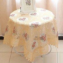 GL&G Europäischen Stil Garten Stil Luxus Stickerei Tischdecke, multifunktionale Tischdecke Couchtisch Esstisch Tisch Tischdecke, Küche Esstisch Dekoration,B,130*130cm