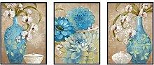 GL&G Europäischen Stil Kunst dekorative Gemälde Blumen Sofa Hintergrund Wand Malerei moderne Kunst Malerei Korridor Triple Malerei Home Dekoration,P