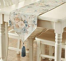 GL&G Europäischen Stil Luxus Tuch Tischläufer Tischdecke Haus Dekoration Bett Handtuch TV Schrank Handtuch Bett Läufer,green,35*228cm