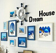 GL&G Europäischen Stil Massivholz die mediterrane Kunst Foto kleine Wand - Wand Wohnzimmer Hintergrund Foto Wand 9 Box kreativen Rahmen Kombination enthalten Ruder Home Dekoration,A