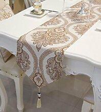 GL&G Europäischen Stil Streifen Desktop-Dekoration Tisch Tuch Mittelmeer Tisch Läufer moderne einfache Schlafzimmer Bett Läufer Bett Handtuch,B,33*210cm