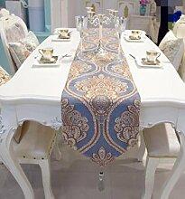 GL&G Europäischen Stil Streifen Desktop-Dekoration Tisch Tuch Mittelmeer Tisch Läufer moderne einfache Schlafzimmer Bett Läufer Bett Handtuch,C,33*210cm