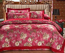 GL&G European style simple cotton satin colored cotton twill jacquard embroidery 40 cotton bed four sets of bedding (Queen, King),H,King