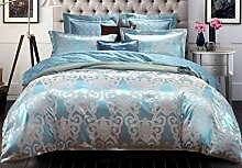 GL&G European Tencel Jacquard-Druck Baumwolle vier Sätze von hochwertigen Heimtextilien Stoff Bettwäsche Quilt Cover × 1PC, Bettwäsche × 1PC, Kissenbezug × 2PCS),T,1.5-1.8 m bed