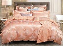 GL&G European Tencel Jacquard-Druck Baumwolle vier Sätze von hochwertigen Heimtextilien Stoff Bettwäsche Quilt Cover × 1PC, Bettwäsche × 1PC, Kissenbezug × 2PCS),P,1.5-1.8 m bed