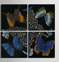 GL&G Frameless Home Dekoration Malerei, Vierfach Malerei Bar Wohnzimmer Restaurant Studie Gang Tinte Malerei Tier Malerei dekorative Malerei,4pcs,40*40cm