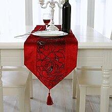 GL&G Gestickte Rose dekorative Tischläufer, maschinenwaschbar, Polyester Home Decor Läufer,E,33*210cm