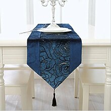 GL&G Gestickte Rose dekorative Tischläufer, maschinenwaschbar, Polyester Home Decor Läufer,D,33*210cm