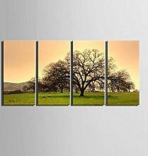 GL&G Gras und Baum Landschaft Dekoration Malerei rahmenlose Malerei vier Fresken, gelten für Wohnzimmer Restaurant Gang Wanddekoration Wandbilder,4pcs,40*80cm