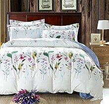 GL&G Heimtextilien Stoffe Luxus Shu vierteiliger Anzug Schleifen weiche Baumwolle vierteilige Kaschmir Hochzeit Bettwäsche (1pc Bettdecke, 1pc Flachbett und 2pc Kissen Fall),O,1.5-1.8 m bed