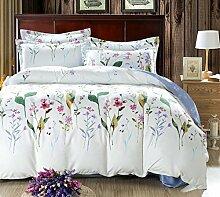 GL&G Heimtextilien Stoffe Luxus Shu vierteiliger Anzug Schleifen weiche Baumwolle vierteilige Kaschmir Hochzeit Bettwäsche (1pc Bettdecke, 1pc Flachbett und 2pc Kissen Fall),D,2 m bed