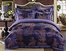 GL&G Hochzeit Satin Jacquard Baumwolle Textilgewebe vier Sätze von Baumwolle bequeme weiche Seide Bettwäsche (Quilt cover × 1PC, Bett Blatt × 1PC, Kissenbezug × 2PCS),K,2 meters bed