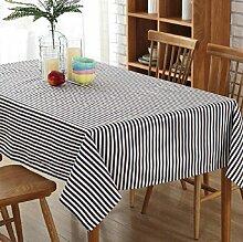 GL&G Home Dekoration gestreifte Leinwand Tischdecken, Mode einfache europäische Stil Tischdecke Hotel Picknick Tischdecke Matten, hochwertige Polyester Baumwolltuch,B,140*140cm