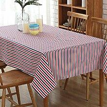 GL&G Home Dekoration gestreifte Leinwand Tischdecken, Mode einfache europäische Stil Tischdecke Hotel Picknick Tischdecke Matten, hochwertige Polyester Baumwolltuch,C,140*250cm