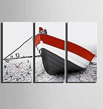 GL&G Inkjet-Drucke Das Boot am Strand Moderne dekorative Malerei Kreative Kunst Schlafzimmer Wohnzimmer Restaurant Wanduhr Frameless Malerei,3pcs,40*80cm