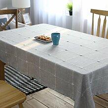 GL&G Japanisches Leinen gestickt Home Dekoration Stoff Tischdecke Küche Gitter Tischdecke Mehrzweck drapieren Staubtuch,100*160cm