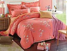 GL&G Kaschmir Baumwolle aktive Druck Schleifen Hause Textilgewebe vier Sätze von Baumwolle Spitze bequeme Bettwäsche (Quilt cover × 1PC, Bett Blatt × 1PC, Kissenbezug × 2PCS),A7,2 meters bed