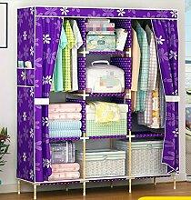 GL&G Kleiderschrank Schrank tragbare Oxford Tuch Stoff frei stehend Lagerung Organizer – Home Dekoration Portable, abnehmbare und leicht festen Holz Kleidung Schrank ,B,51'' *68''