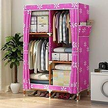 GL&G Kleiderschrank Wandschrank Portable Oxford Tuch Free Standing Storage Organizer - Home-Finishing-Dekoration Portable, abnehmbar und Massivholz leichte Kleidung Schrank,B,39'' *63''