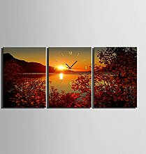 GL&G Kreative Kunst Schlafzimmer Wohnzimmer Restaurant Mode Portfolio Inkjet Drucke See Sonnenuntergang Wanduhr Frameless Malerei,3pcs,50*70cm