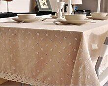 GL&G Leinen Tuch Tischdecken Pastoral Tisch Tischdecke Baumwolle Leinen Tuch Leben Dekoration Desktop Mehrzweck-Deckel Tuch,A,140*200cm