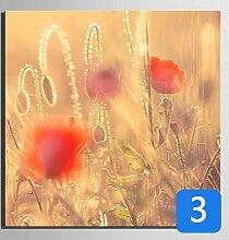GL&G Leinwand Gemälde - Abstrakte Wand Kunst - Blumen Und Vögel Malerei - Heimtextilien bereit zu hängen 100% Inkjet gemalt Artwork - Red Flower Series,3,20*20CM