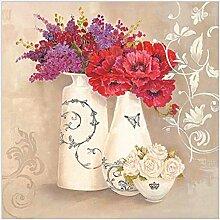 GL&G Leinwand Gemälde - abstrakte Wand Kunst - Blumen und Vögel Malerei - Heimtextilien bereit zu hängen 100% Inkjet gemalt Artwork - die Serie von Blumen in der Flasche,1,25*25CM