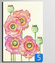 GL&G Leinwand Gemälde - Abstrakte Wand Kunst - Blumen Und Vögel Malerei - Heimtextilien bereit zu hängen 100% Inkjet gemalt Artwork - In voller Blüte Blumen Serie,5,18*25CM