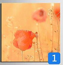 GL&G Leinwand Gemälde - Abstrakte Wand Kunst - Blumen Und Vögel Malerei - Heimtextilien bereit zu hängen 100% Inkjet gemalt Artwork - Red Flower Series,1,25*25CM
