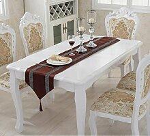 GL&G Luxus europäischen Stil Row Bohrer Streifen Tischfahne Bett Handtuch Tischläufer Hochzeit Hotel Desktop Dekoration,G,33*180cm