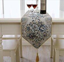 GL&G Mode-europäischen Stil Tuch luxuriöse moderne einfache Couchtisch Tisch Läufer nach Hause Dekoration Schlafzimmer Bett Läufer Cover Tischdecke,A,28*180cm