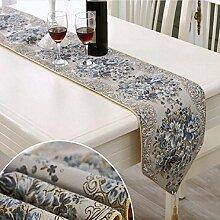 GL&G Mode High - End - Luxus Stickerei Tisch Flagge Couchtisch Tisch Läufer Bett Flagge, Bett Handtuch, Tischdecke Tuch,blue, 28*210cm