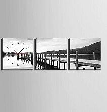 GL&G Mode-Portfolio See Seite der Brücke Kunst Blumen Inkjet Drucke Wanduhr Frameless Malerei Kreative Kunst Schlafzimmer Wohnzimmer Restaurant,3PCS,50*50CM