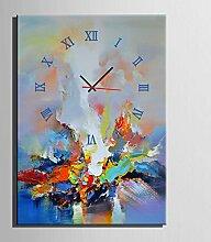 GL&G Modern Massivholz Abstrakt Farbe Frameless Malerei Schlafzimmer Wohnzimmer Esszimmer Kinderzimmer Dekor Frameless Wanduhr Malerei,A,40*60CM