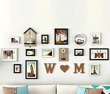 GL&G Moderne Kunst Foto Wand Dekoration-europäischen Stil Wohnzimmer Rahmen Wand Schlafzimmer Ehe Raum kreative Wand Foto Wand Kombination,A